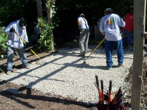 September 2011 Greencorps and Volunteers Install Pavers beneath pergola